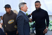 Pharrell Williams, Netflix Chief Content Officer Ted Sarandos and Jamie Foxx attend Netflix's The Black Godfather AMPAS Los Angeles Tastemaker on November 03, 2019 in West Hollywood, California.