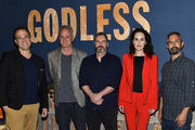 "(L-R) Carlos Rafael Rivera, Casey Silver, Scott Frank, Michelle Dockery, and Steven Meizler attend the Netflix 12 Emmy nominations celebration for ""Godless"" at DGA Theater on August 9, 2018 in Los Angeles, California."