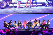Libby Hill, Liz Flahive, Carly Mensch, Shauna Duggins, Betty Gilpin, Marc Maron, Sydelle Noel, Jackie Tohn, Kia Stevens and Britt Baron speak onstage at the Netflix FYSEE Glow ATAS Official Red Carpet and Panel at Raleigh Studios on June 01, 2019 in Los Angeles, California.