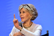 """Jane Fonda speaks onstage at the Netflix FYSEE """"Grace and Frankie"""" ATAS Official Red Carpet and Panel at Raleigh Studios on May 18, 2019 in Los Angeles, California."""