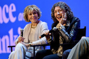 """Jane Fonda and Lily Tomlin speak onstage at the Netflix FYSEE """"Grace and Frankie"""" ATAS Official Red Carpet and Panel at Raleigh Studios on May 18, 2019 in Los Angeles, California."""
