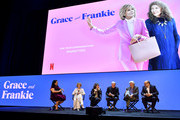"""Jenelle Riley, Jane Fonda, Lily Tomlin, Martin Sheen, Sam Waterston and Howard Morris speak onstage at the Netflix FYSEE """"Grace and Frankie"""" ATAS Official Red Carpet and Panel at Raleigh Studios on May 18, 2019 in Los Angeles, California."""