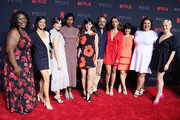 (L-R) Kia Stevens, Shakira Barrera, Alison Brie, Sydelle Noel, Jackie Tohn, Marc Maron, Britt Baron, Rebekka Johnson, Britney Young and Kimmy Gatewood attend  the Netflix FYSEE Kick-Off at Netflix FYSEE at Raleigh Studios on May 6, 2018 in Los Angeles, California.