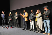 "(L-R) Bryan Mealer, Andrea Calderwood, Gail Egan, Chiwetel Ejiofor, Maxwell Simba, Alexa L. Fogel, and Antonio Pinto speak during the Netflix film ""The Boy Who Harnessed The Wind"" Sundance Film Festival Park City screening Q&A at The Ray Theatre on January 26, 2019 in Park City, Utah."