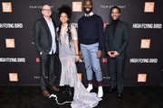 "(L-R) Steven Soderbergh, Zazie Beetz, Tarell Alvin McCraney, and André Holland attend the Netflix ""High Flying Bird"" Film Comment Select Special Screening at Walter Reade Theater on February 07, 2019 in New York City."