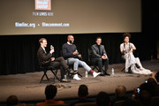 "(L-R) Nicolas Rapold, Tarell Alvin McCraney, André Holland, and Zazie Beetz speak during the Netlix ""High Flying Bird"" Film Comment Select Special Screening at Walter Reade Theater on February 07, 2019 in New York City."