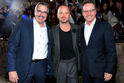 """(L-R) Vince Gilligan, Aaron Paul and Bryan Cranston attend the World Premiere of  """"El Camino: A Breaking Bad Movie"""" at the Regency Village on October 07, 2019 in Los Angeles, California."""