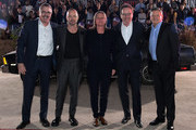 """(L-R) Vince Gilligan, Aaron Paul, Netflix VP of Original Content Cindy Holland, Bryan Cranston and Netflix Chief Content Officer Ted Sarandos attend the World Premiere of  """"El Camino: A Breaking Bad Movie"""" at the Regency Village on October 07, 2019 in Los Angeles, California."""