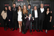 "(L-R) VP of Content Acquisition at Netflix Bela Bajaria, VP of Original Series at Netflix Cindy Holland, Bill Heck, Emilia Jones, Darby Stanchfield, Connor Jessup, Jackson Robert Scott, Netflix CCO Ted Sarandos, Carlton Cuse, and Meredith Averill attend Netflix's ""Locke & Key"" series premiere photo call at the Egyptian Theatre on February 05, 2020 in Hollywood, California."