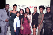 "Ernie Hudson, Sanaa Lathan, Adam Niemann, Haifaa Al-Mansour, Daria Johns, Lynn Whitfield, Camille Guaty, Brittany S. Hall and Tracey Bing attend a screening of  Netlfix's ""Nappily Ever After"" at Harmony Gold Theatre on September 20, 2018 in Los Angeles, California."