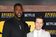 (L-R) Winston Duke and Mark Wahlberg attend the Netflix Premiere Spenser Confidential at Westwood Village Theatre on February 27, 2020 in Westwood, California.