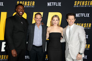 (L-R) Winston Duke, Peter Berg, Iliza Shlesinger, and Mark Wahlberg attend the Netflix Premiere Spenser Confidential at Westwood Village Theatre on February 27, 2020 in Westwood, California.