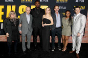 (L-R) Colleen Camp, Alan Arkin, Winston Duke, Iliza Shlesinger, Peter Berg, Hope Olaide Wilson, and Mark Wahlberg attend the Netflix Premiere Spenser Confidential at Westwood Village Theatre on February 27, 2020 in Westwood, California.