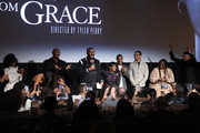 """Crystal Fox, Mehcad Brooks, Tyler Perry, Cicely Tyson, Walter Fauntleroy, Donovan Christie Jr., Angela Marie Rigsby, and Matthew Law speak during the Netflix Premiere for Tyler Perry's """"A Fall From Grace"""" at Metrograph on January 13, 2020 in New York City."""