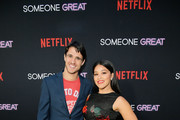 """Gina Rodriguez (R) and Joe LoCicero attend Netflix Special Screening Of """"Someone Great"""" at ArcLight Cinemas on April 17, 2019 in Culver City, California."""