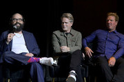 """(L-R) Brett Gelman, Cary Elwes and Jake Busey speak onstage attend the Los Angeles premiere of the new HBO Series """"The Outsider"""" at Directors Guild Of America on January 09, 2020 in Los Angeles, California."""