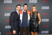 "(L-R)  Luis Gerardo Mendez, Adam Sandler and Jennifer Aniston attend the Netflix World Premiere Of ""Murder Mystery"" at Village Theatre Westwood on June 10, 2019 in Los Angeles, California."