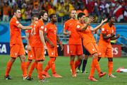 The Netherlands celebrate after a made penalty kick in a shootout during the 2014 FIFA World Cup Brazil Quarter Final match between the Netherlands and Costa Rica at Arena Fonte Nova on July 5, 2014 in Salvador, Brazil.