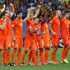 Daley Blind Ron Vlaar Photos - (L-R) Daley Blind, Stefan de Vrij, Klaas-Jan Huntelaar, Wesley Sneijder, Dirk Kuyt, Jeremain Lens, Georginio Wijnaldum, Ron Vlaar and Robin van Persie of the Netherlands celebrate after a made penalty kick in a shootout during the 2014 FIFA World Cup Brazil Quarter Final match between the Netherlands and Costa Rica at Arena Fonte Nova on July 5, 2014 in Salvador, Brazil. - Netherlands v Costa Rica: Quarter Final - 2014 FIFA World Cup Brazil