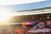 A large banned or flag is held up with the face of Wesley Sneijder of the Netherlands during the FIFA 2018 World Cup Qualifier between the Netherlands and Luxembourg held at De Kuip or Stadion Feijenoord on June 9, 2017 in Rotterdam, Netherlands.