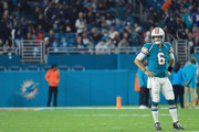 Jay Cutler #6 of the Miami Dolphins looks on in the third quarter against the New England Patriots at Hard Rock Stadium on December 11, 2017 in Miami Gardens, Florida.