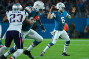 Jay Cutler #6 of the Miami Dolphins passes during the first quarter against the New England Patriots at Hard Rock Stadium on December 11, 2017 in Miami Gardens, Florida.