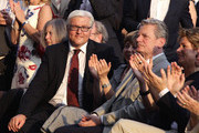 Frank-Walter Steinmeier (L), head of the Bundestag faction of the German Social Democrats (SPD), Joachim Gauck (R) and his partner Daniela Schadt (C) attend at the President's annual summer garden party at Schloss Bellevue presidential palace on July 2, 2010 in Berlin, Germany. The party was Christian Wulff's first official event as president following his confirmation ceremony earlier in the day.