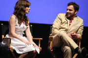 Actress Zooey Deschanel (L) and actor Jake Johnson speak onstage at the 'New Girl' Season 3 Finale Screening and cast Q&A at Zanuck Theater at 20th Century Fox Lot on May 8, 2014 in Los Angeles, California.