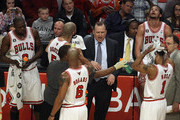 Head coach Tom Thibodeau of the Chicago Bulls gives instructions to his starting five players (L-R) Loul Deng #9, Carlos Boozer #5, Keith Bogans #6, Derrick Rose #1 and Joakim Noah #13 during a game against the New Jersey Nets at the United Center on April 13, 2011 in Chicago, Illinois. The Bulls defeated the Nets 97-92. NOTE TO USER: User expressly acknowledges and agress that, by downloading and/or using this photograph, User is consenting to the terms and conditions of the Getty Images License Agreement.