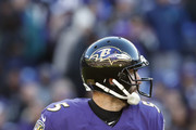 Quarterback Joe Flacco #5 of the Baltimore Ravens looks to throw the ball in the first quarter against the New Orleans Saints at M&T Bank Stadium on October 21, 2018 in Baltimore, Maryland.