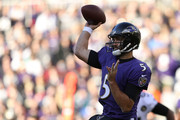 Quarterback Joe Flacco #5 of the Baltimore Ravens throws the ball in the first quarter against the New Orleans Saints at M&T Bank Stadium on October 21, 2018 in Baltimore, Maryland.