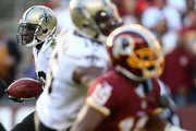 Running back C.J. Spiller #28 of the New Orleans Saints carries the ball in the fourth quarter of a game against the Washington Redskins at FedExField on November 15, 2015 in Landover, Maryland.