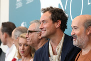 """(L-R) Maurizio Lombardi, Tomas Arana, Massimo Ghini, Ludivine Sagnier, Jude Law and Javier Cámara attend """"The New Pope"""" photocall during the 76th Venice Film Festival at Sala Grande on September 01, 2019 in Venice, Italy."""