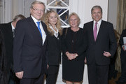 (L-R) Wolfgang Schuessel (former chancellor of Austria) and Krista Schuessel with Josef Ackermann and wife Pirkko Ackermann attend New Year Reception of publisher Klaus Schuemann at Hotel Louis C. Jacob on January 9, 2014 in Hamburg, Germany.