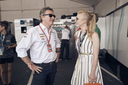 In this handout provided by FIA Formula E, Alejandro Agag, CEO, Formula E, meets Natalie Dormer during the New York City ePrix, Round 11 of the 2017/18 FIA Formula E Series on July 14, 2018 in New York, United States.