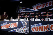 (L-R) Moderator Andy Swift and Cody Christian, Jeff Davis, Tyler Posey, Dylan Sprayberry and JR Bourne from Teen Wolf speak during day 2 of New York Comic-Con 2015 at The Jacob K. Javits Convention Center on October 9, 2015 in New York City.