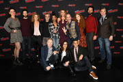 (Front L-R) Anthony Rapp, Michelle Yeoh, Wilson Cruz, (Back L-R)  Mary Chieffo, Ethan Peck, Producer Heather Kadin, Co-creator/Executive producer, Alex Kurtzman, Sonequa Martin-Green, Rebecca Romijn, Doug Jones, Mary Wiseman, Shazad Latif and Anson Mount attend the Star Trek: Discovery panel during New York Comic Con at The Hulu Theater at Madison Square Garden on October 6, 2018 in New York City.