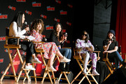 Michaela Dietz, Sarah Stiles, Deedee Magno, Estelle, and Rebecca Sugar speak on stage during Steven Universe presentation at New York Comic Con 2019 - Day 2 at Jacobs Javits Center on October 04, 2019 in New York City.