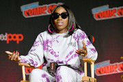Estelle speaks on stage during Steven Universe presentation at New York Comic Con 2019 - Day 2 at Jacobs Javits Center on October 04, 2019 in New York City.
