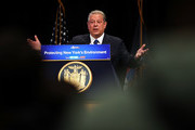 Former Vice President Al Gore speaks at an event with New York Governor Andrew Cuomo at New York University, denouncing the Trump administration's proposal to open up new areas to offshore drilling, on March 9, 2018 in New York City. The two Democrats spoke on the negative environmental impact drilling, spills and underwater blasts could have on New York City.