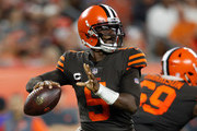 Tyrod Taylor #5 of the Cleveland Browns drops back to pass during the second quarter against the New York Jets at FirstEnergy Stadium on September 20, 2018 in Cleveland, Ohio.