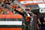 Tyrod Taylor #5 of the Cleveland Browns throws a pass during the second quarter against the New York Jets at FirstEnergy Stadium on September 20, 2018 in Cleveland, Ohio.