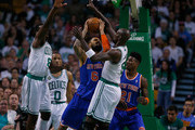 Kevin Garnett #5 of the Boston Celtics tries to block Tyson Chandler #6 of the New York Knicks during Game Six of the Eastern Conference Quarterfinals of the 2013 NBA Playoffs on May 3, 2013 at TD Garden in Boston, Massachusetts. NOTE TO USER: User expressly acknowledges and agrees that, by downloading and or using this photograph, User is consenting to the terms and conditions of the Getty Images License Agreement.