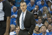 Billy Donovan of the Oklahoma City Thunder reacts to a foul call during the first half of a NBA  game against the New York Knicks  at the Chesapeake Energy Arena on October 19, 2017 in Oklahoma City, Oklahoma. NOTE TO USER: User expressly acknowledges and agrees that, by downloading and or using this photograph, User is consenting to the terms and conditions of the Getty Images License Agreement.