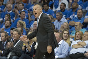 Billy Donovan of the Oklahoma City Thunder reacts during the first half of a NBA  game against the New York Knicks  at the Chesapeake Energy Arena on October 19, 2017 in Oklahoma City, Oklahoma. NOTE TO USER: User expressly acknowledges and agrees that, by downloading and or using this photograph, User is consenting to the terms and conditions of the Getty Images License Agreement.