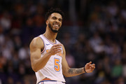 Courtney Lee #5 of the New York Knicks reacts during the first half of the NBA game against the Phoenix Suns at Talking Stick Resort Arena on January 26, 2018 in Phoenix, Arizona. NOTE TO USER: User expressly acknowledges and agrees that, by downloading and or using this photograph, User is consenting to the terms and conditions of the Getty Images License Agreement.