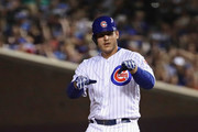 Anthony Rizzo #44 of the Chicago Cubs celebrates his 1,000th Cubs career hit, a double in the 7th inning against the New York Mets, at Wrigley Field on August 27, 2018 in Chicago, Illinois.