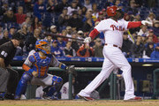 Ryan Howard #6 of the Philadelphia Phillies hits a double in the bottom of the second inning against the New York Mets at Citizens Bank Park on September 30, 2016 in Philadelphia, Pennsylvania.