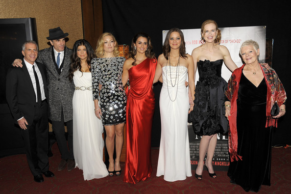 (L-R) Producer Marc Platt, actors Daniel Day-Lewis, Fergie, Kate Hudson, Penelope Cruz, Marion Cotillard, Nicole Kidman and Dame Judi Dench attend the New York premiere of