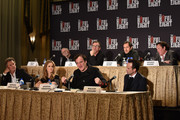 (Top L-R) Actors Bruce Dern, Tim Roth, Demian Bichir, Michael Madsen, (Bottom L-R) Kurt Russell, Jennifer Jason Leigh, director Quentin Tarantino and Walton Goggins attend the press conference for THE HATEFUL EIGHT at Waldorf Astoria Hotel on December 14, 2015 in New York City.